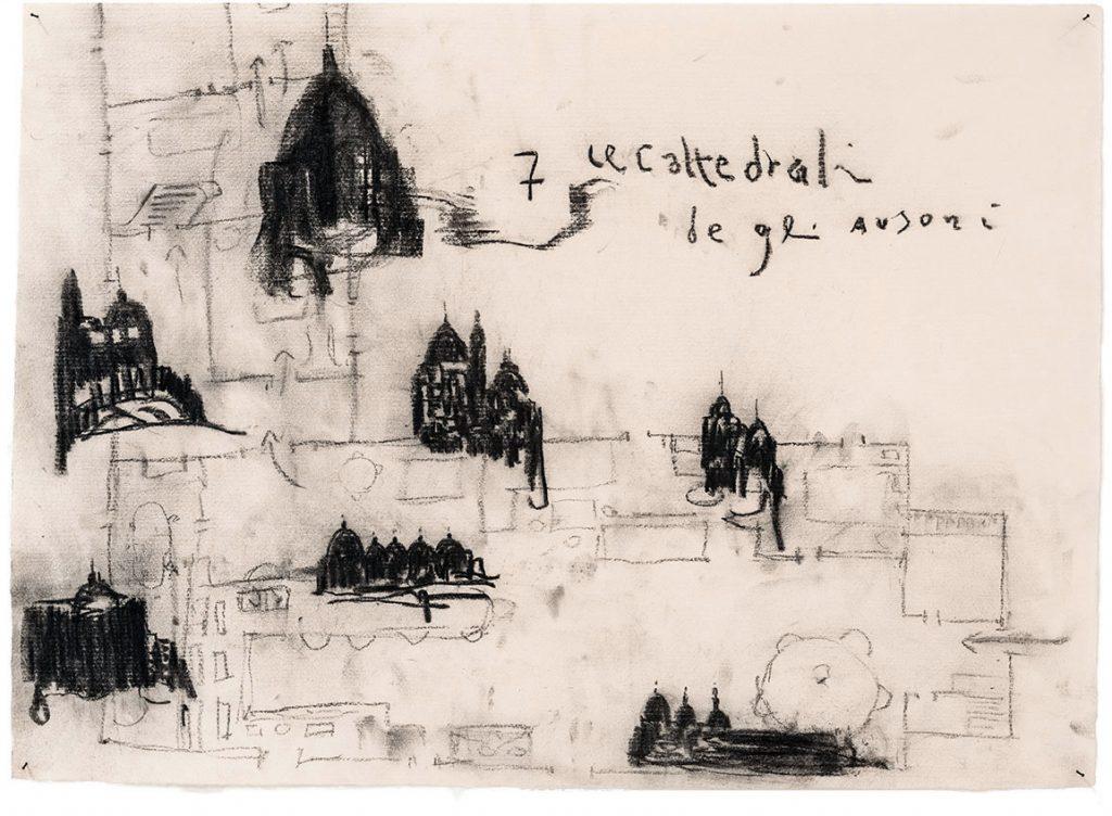 Sette Cattedrali degli Ausoni, 2015, tecnica mista su carta, cm 48 x 66