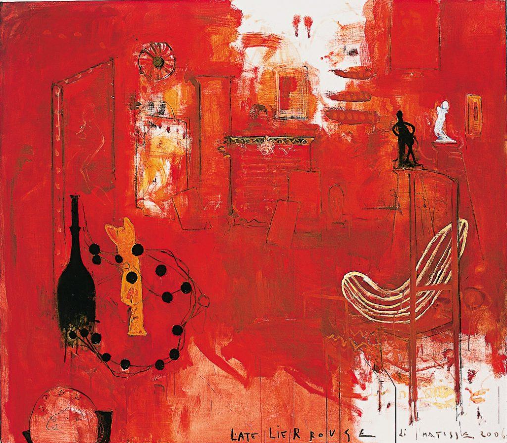 L'Atelier rouge di Matisse, 2006, tecnica mista su tela, cm 140 x 160.