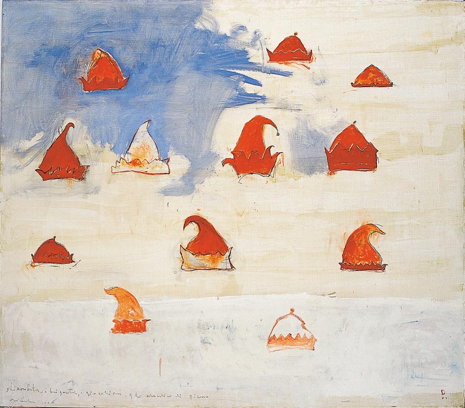 Gli acrobati, i briganti, i giocolieri, gli arlecchini di Picasso, 2006, tecnica mista su tela, cm 140 x 160.