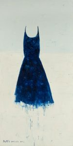 Blu dedicato, 2013, olio su tela, cm 200 x 100.