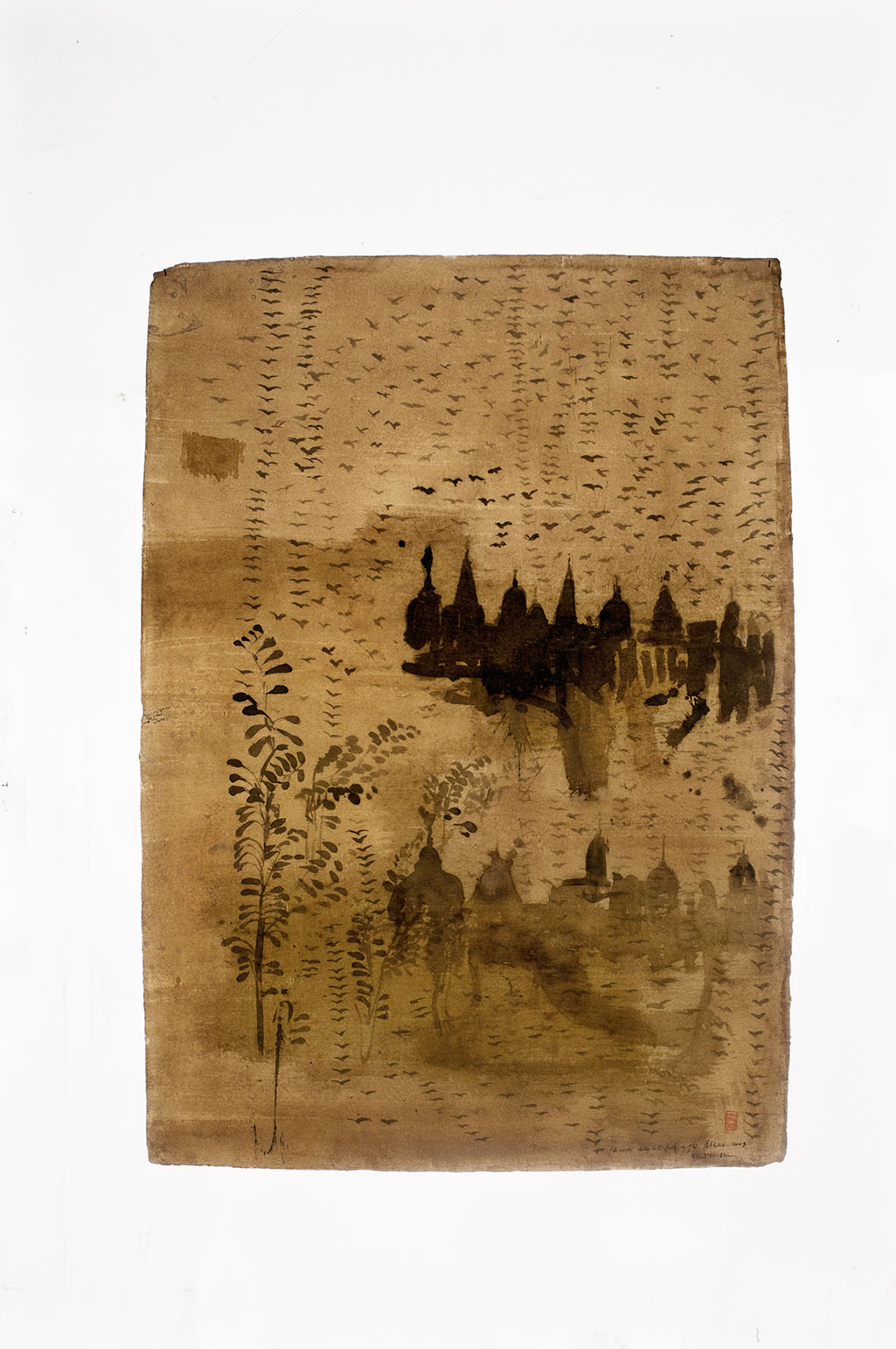 Gli uccelli della cattedrale e gli alberi, 2009, tecnica mista su carta, cm 130x90