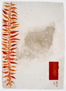 La pianta del tè, i fiori secchi, 2009-10, tecnica mista su carta, cm 130 x 90.