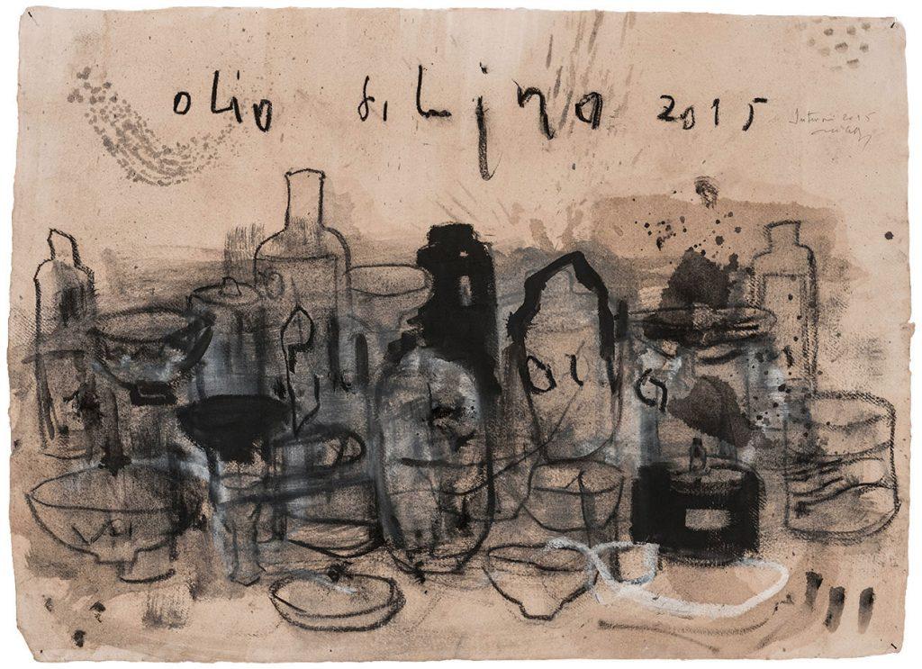 Olio di Lino, 2015, tecnica mista su carta