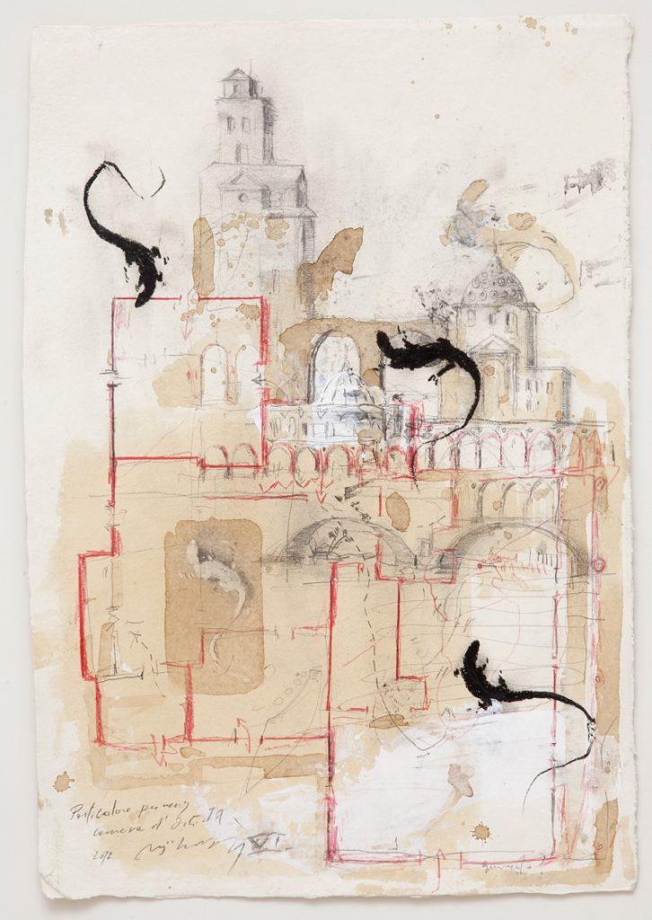 Particolare per una camera d'artista, 2012, tecnica mista su carta indiana, cm 59 x 39