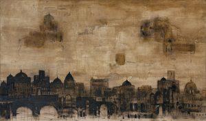 Cattedrale, 2012, tecnica mista su tela, cm 134 x 224.