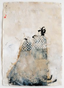 Due Amanti, 2009-10, tecnica mista su carta, cm 130 x 90.