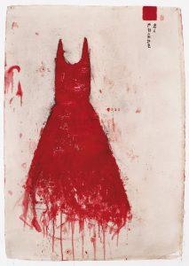 Innamorata , rosso dell'ombra, 2009-10, tecnica mista su carta, cm 130 x 90.