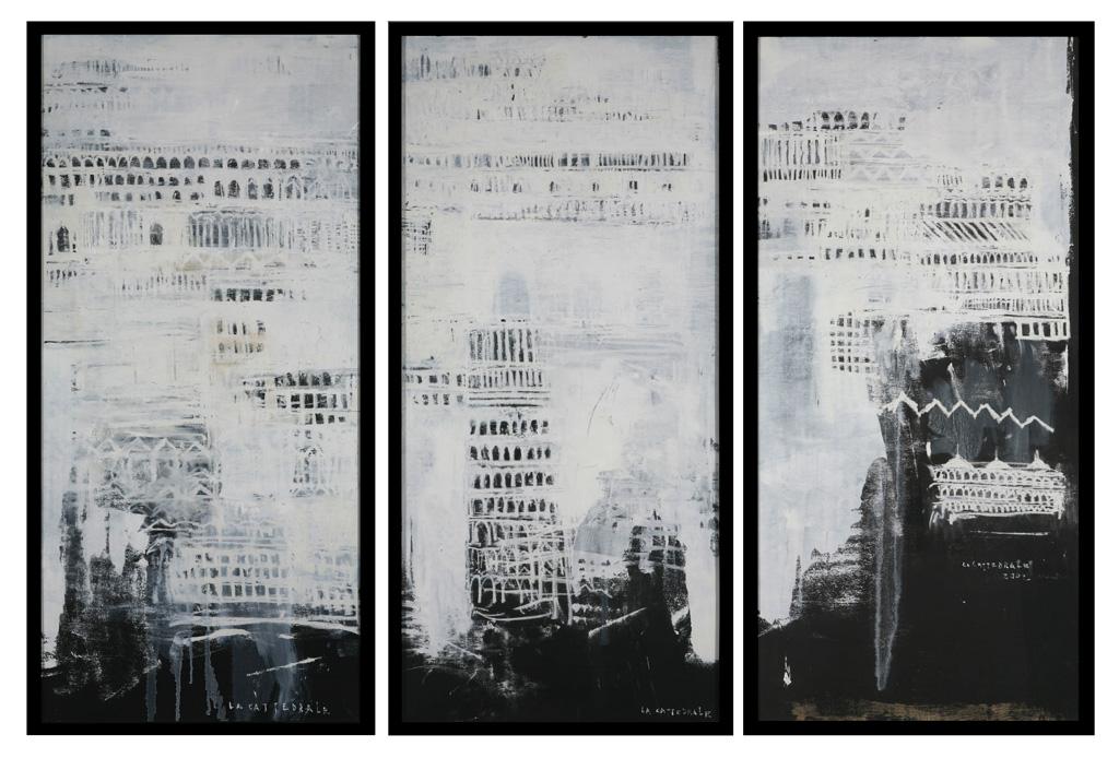 La Cattedrale, 2002, tecnica mista su tavola, cm 188 x 274, 5.