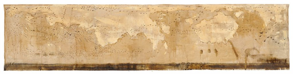 Mappa, 2009, tecnica mista su tela, cm 90 x 400.