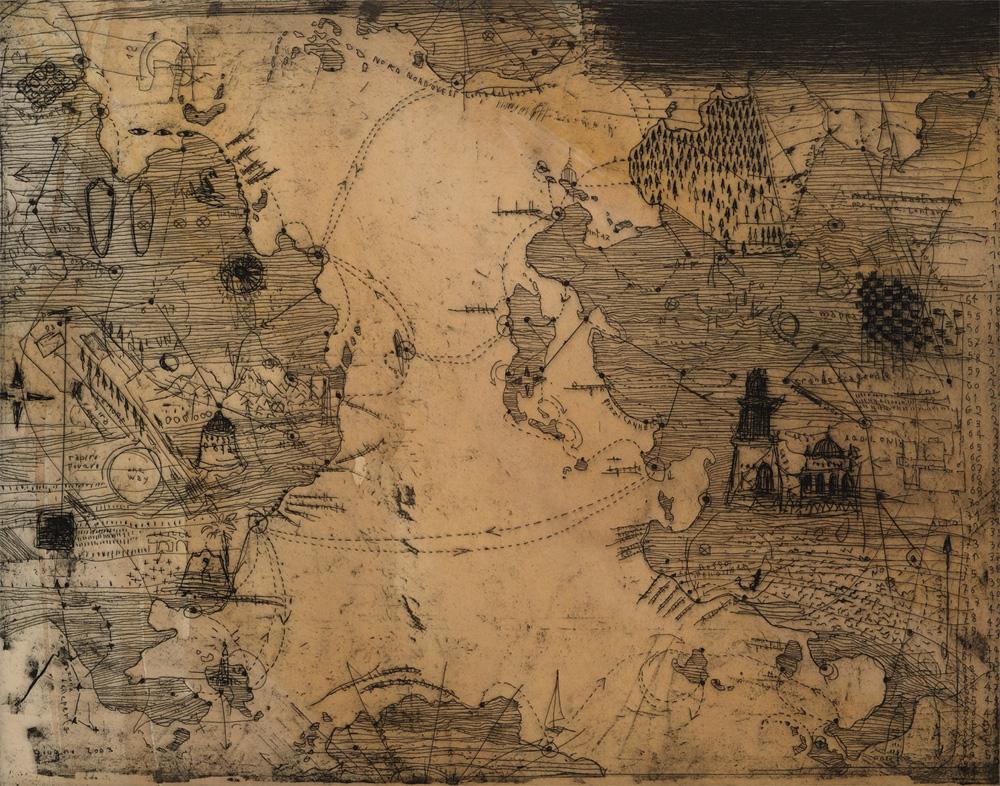 Mappa del mondo, 2003, acquaforte.