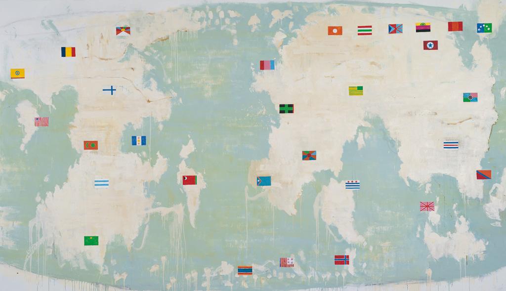 Mappa d'Oriente, 2004, tecnica mista su tela, cm 290 x 520, realizzata a quattro mani con Rossella Fumasoni.