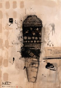 Per una camera d'artista 2009 - 2010, tecnica mista su carta, cm 130 x 90.