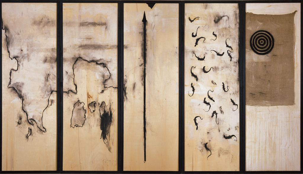 Polittico per andare via, 2001 - 2002, tecnica mista su tavola e tela, cm 215,5 x 390.