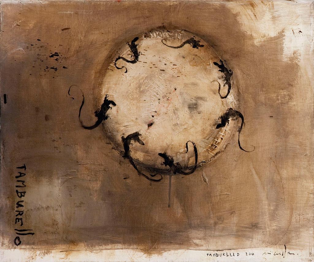 Tamburello, 2012, tecnica mista su tela, cm 50 x 60.