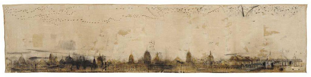 Veduta, 2009, tecnica mista su tela, cm 90 x 40.